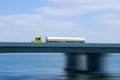 Fuel Tanker Semi Truck On Bridge With Motion Blur Stock Photos - 32995673