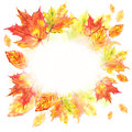 Watercolor Leaf Frame On White Background Stock Photo - 33007130
