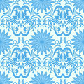 Blue Seamless Floral Damask Wallpaper Royalty Free Stock Images - 33028609