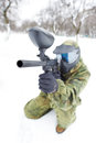 Paintball Player With Marker At Winter Outdoors Stock Images - 33029864