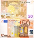 50 EURO MONEY BANKNOTE TWO SIDES Stock Photography - 33049092