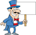 Cartoon Man In Top Hat Holding A Sign Royalty Free Stock Photography - 33056187