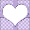 Purple Gingham With Heart Center And Ribbon Background For Your Stock Photos - 33057633