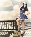Vintage Sailor Girl. World Tour Travel Cruise Stock Photo - 33070750