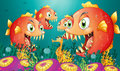 A Seahorse Surrounded By A Group Of Hungry Piranhas Royalty Free Stock Image - 33072136