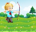 A Girl At The Garden Holding A Bow And An Arrow Stock Images - 33073204
