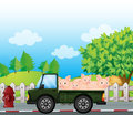 A Green Truck With Pigs At The Back Royalty Free Stock Photo - 33073205