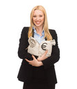 Businesswoman Holding Money Bags With Euro Stock Photos - 33078273