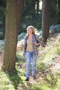 Woman On Country Walk Through Woodland Royalty Free Stock Photos - 33092408