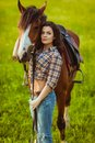 Woman Posing With Horse Stock Images - 33096054