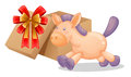 A Gift Box Beside A Toy Horse Royalty Free Stock Image - 33097966