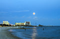 Biloxi, Mississippi, Casinos And Buildings In Night Image With Rising Moon Stock Photos - 33110183