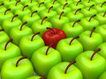 One Red Apple Among Background Of Green Apples Stock Images - 33111064