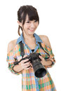 Beautiful Smiling Asian Woman With Photo Camera Stock Photography - 33111962