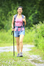 Woman Hiking On Trail Royalty Free Stock Photos - 33119698
