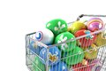 Shopping Cart With Easter Eggs Stock Images - 33137264