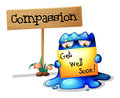 A Compassionate Monster Holding A Signage Stock Photography - 33141322