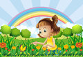 A Girl At The Garden With A Rainbow At The Back Royalty Free Stock Image - 33141476
