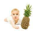 Little Baby Boy  And Pineapple Royalty Free Stock Images - 33152759