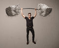 Muscular Man Lifting Large Rock Stone Weights Stock Photography - 33153832