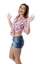 The Beautiful Girl In Jeans Shorts Stock Photo - 33153970