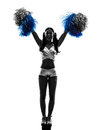 Young Woman Cheerleader Cheerleading  Silhouette Royalty Free Stock Photos - 33184638