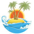 Tropical Island.Vector Symbol Seascape With Sun Is Stock Image - 33193381