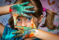 Little Girl And Colors Stock Image - 33195141