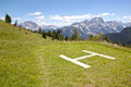 Landing Place For Helicopter Near Cinque Torri In The Dolomites Royalty Free Stock Photos - 33196238