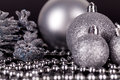 Christmas Decoration In Silver On Black Royalty Free Stock Photo - 33200245