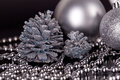 Christmas Decoration In Silver On Black Stock Images - 33200264