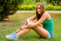 Teenage Girl Sitting In The Park Stock Photo - 33201650