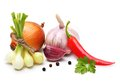 Garlic Clove, Onion,red Pepper And Spices Stock Photography - 33204792