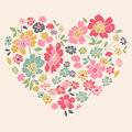 Romantic Card With Floral Heart Stock Photo - 33215460