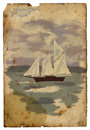 Sailboat At Sea. Old Postcard. Isolated Royalty Free Stock Photography - 33225407
