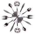 Kitchen Clock With Spoons And Forks. Concept. Time Passes In Kitchen Stock Images - 33227284