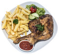Chicken Legs With Chips (on White) Royalty Free Stock Image - 33246636