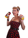 Pin-up Girl With Two Matryoshka Dolls Stock Photos - 33254793