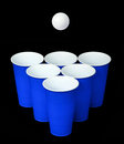 Beer Pong. Blue Plastic Cups And Ping Pong Ball Over Black Stock Photography - 33265762