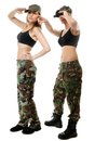 Two Women In Military Clothes, Army Girls Stock Image - 33270741