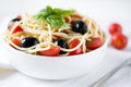 Pasta With Tomatoes And Olives Royalty Free Stock Photos - 33281158