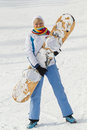 Woman With Snowboard Royalty Free Stock Photo - 33295725
