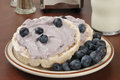 Blueberry Cream Cheese On Rice Cakes With Milk Royalty Free Stock Photography - 33309757
