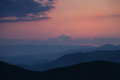 Sunset In The Foggy Mountains Royalty Free Stock Photography - 33312667
