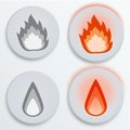 Fire Flames Red, Set Icons, Vector Illustration Stock Photos - 33333863