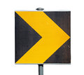 Yellow And Black Turn Road Sign Isolated On White Royalty Free Stock Images - 33339889