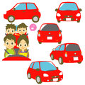 FAMILY In A Car, Red Car Illustrations Royalty Free Stock Images - 33347819
