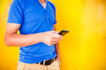 Young Man Using Mobile Smart Phone Royalty Free Stock Photography - 33352667