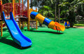 Colorful Playground With Green Elastic Rubber Floor For Children Royalty Free Stock Photos - 33355978