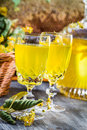 Closeup Of Liqueur In Glass Made Of Honey And Lime Royalty Free Stock Photography - 33356427